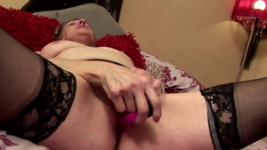 GILF in stockings nailed rough solo