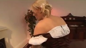 Large boobs blonde babe in tight stockings raw bends over