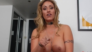 Large boobs mature Eva Notty after interview in HD