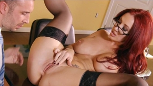 Large boobs babe helps with hard ramming in glasses in HD