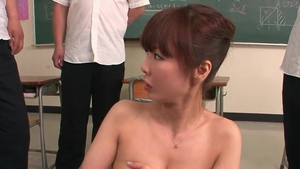 Blowjob along with huge tits japanese redhead