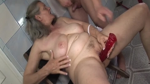 Big boobs granny got her pussy smashed in the bath HD