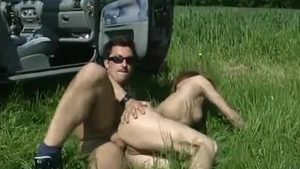 Muscled skinny deutsch redhead pickup on the nature