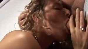 Pussy fucking in company with italian brunette