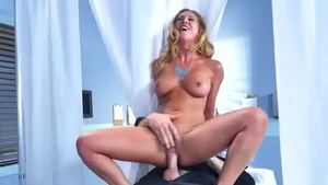 Large boobs and busty blonde haired cock sucking