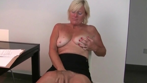 Hard ramming huge tits amateur in stockings in office