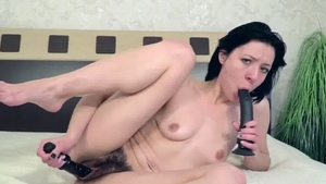 Very small tits brunette fun with toys in the bed