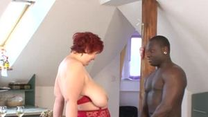 Slamming hard together with busty deutsch mature