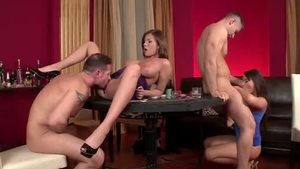 Raw gagging with David Perry next to Donna Bell