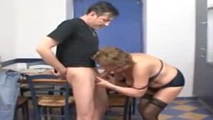 Skinny mature hard riding a dick