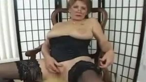 Granny in stockings whip solo
