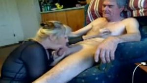 Blonde babe sucking King Cock