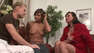 Slamming hard in company with ebony stepmom