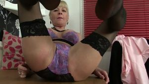Masturbation english in sexy stockings in HD