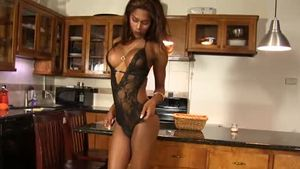 Tattooed tgirl digs closeup slamming hard in the kitchen