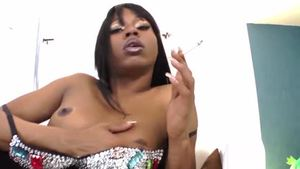 Huge tits ebony shemale closeup smoking
