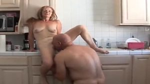 Receiving facial along with sexy mature