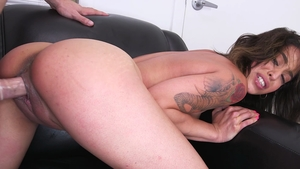 Inked latina Penelope Stone hard getting facial in HD