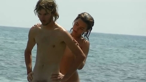 Tanned bitch nudist at the beach HD