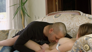 Hungarian bombshell pussy fuck on the couch