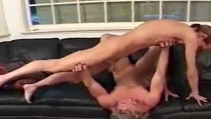 Reality sucking dick accompanied by muscle couple