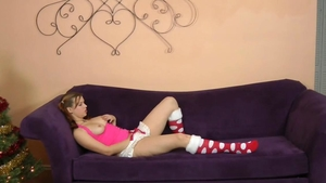 Very cute brunette doggy sex on the Christmas in HD