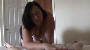 Plump british mature wearing glasses having fun with King Cock