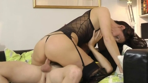 British stepmom really enjoys hard nailining in boots in HD