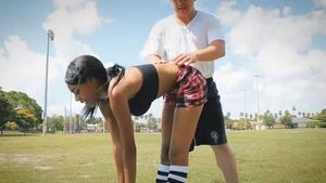 Shaved ebony Brittney White goes in for workout