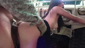 Nailed rough in company with petite arab slut