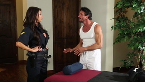 Sex scene accompanied by large boobs cop