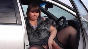 Smoking in car amongst big butt blonde haired